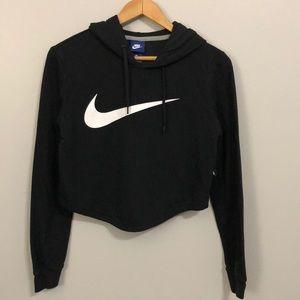 Nike Black Cropped Hoodie Medium